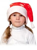 Купить Колпаки новогодние плюш красный