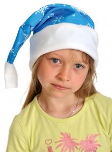 Колпаки новогодние ткань-плюш голубой