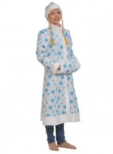 Снегурочка белая ткань-плюш для взрослых