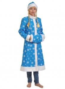 Снегурочка бирюза ткань-плюш для взрослых