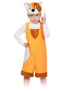Детский карнавальный костюм котик рыжий ткань-плюш