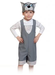 Детский карнавальный костюм котик серый ткань-плюш