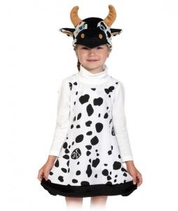 Детский карнавальный костюм Коровка ткань-плюш