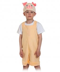 Детский карнавальный костюм Поросёнок бежевый ткань-плюш