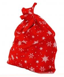 Мешок деда Мороза Красный + снежинки