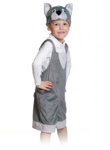 Детский карнавальный костюм из плюша котик серый