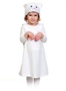 Детский карнавальный костюм из плюша Кошечка белая