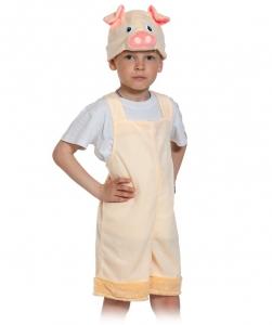 Детский карнавальный костюм Поросёнок плюш бежевый/ткань-плюш