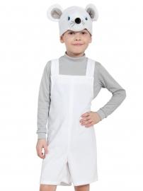 Детский карнавальный костюм из плюша Мышонок Белый