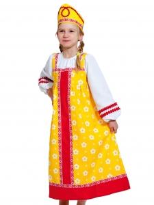 Детский карнавальный костюм  Алёнушка в жёлтом