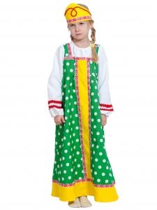 Детский карнавальный костюм  Алёнушка в зеленом