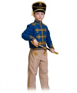 Детский карнавальный костюм Гусар (текстиль) сине-бежевый