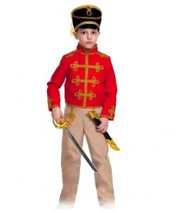 Детский карнавальный костюм Гусар (текстиль) красно-бежевый