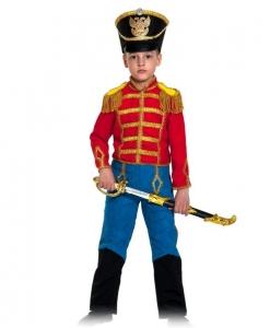 Детский карнавальный костюм Гусар (замш) красно-синий с сапогами