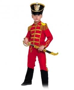 Детский карнавальный костюм Гусар (замш) красный с сапогами