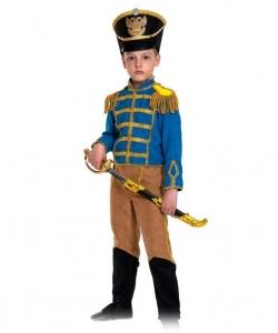 Детский карнавальный костюм Гусар (замш) сине-бежевый с сапогами