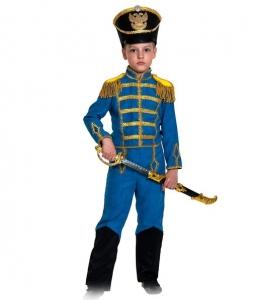 Детский карнавальный костюм Гусар (замш) синий с сапогами