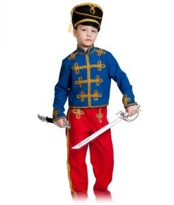 Детский карнавальный костюм Гусар (текстиль) сине-красный
