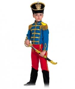Детский карнавальный костюм Гусар (замш) сине-красный с сапогами