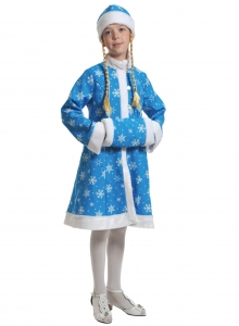 Детский карнавальный костюм СНЕГУРОЧКА  ткань-плюш бирюза
