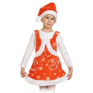 Детский карнавальный костюм из плюша Мисс Санта