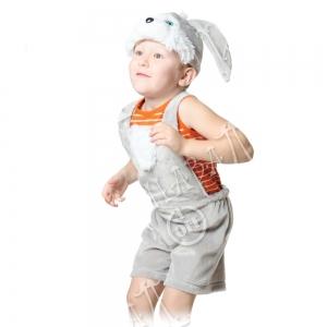 Детский карнавальный костюм из плюша Зайчик серый