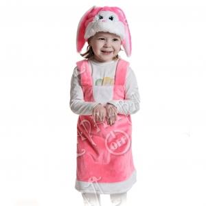 Детский карнавальный костюм из плюша Зайка розовая